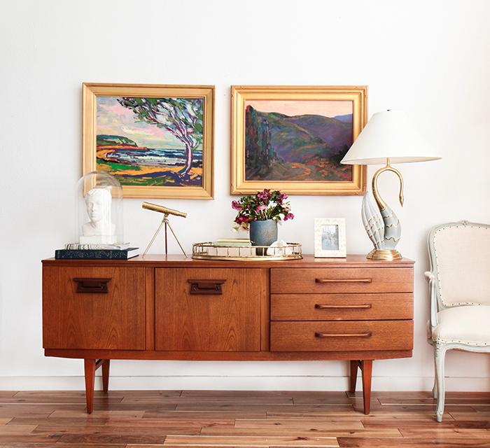 Credenza_4 Ways_Oil Painting Masculine Brass_Mid Century Modern Glam
