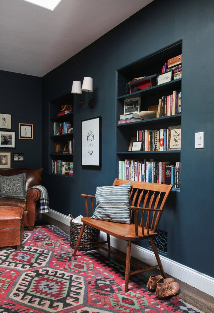Emily Henderson_Hague Blue Reading Nook_Leather Chair_Gallery Wall_Bookshelves1