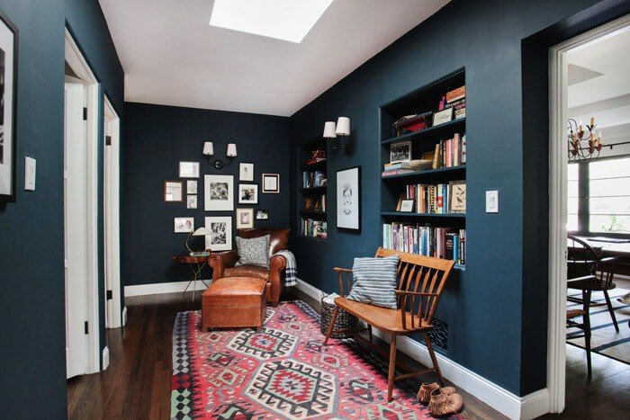 Emily Henderson Hague Blue Reading Nook Leather Chair Gallery Wall Bookshelves6