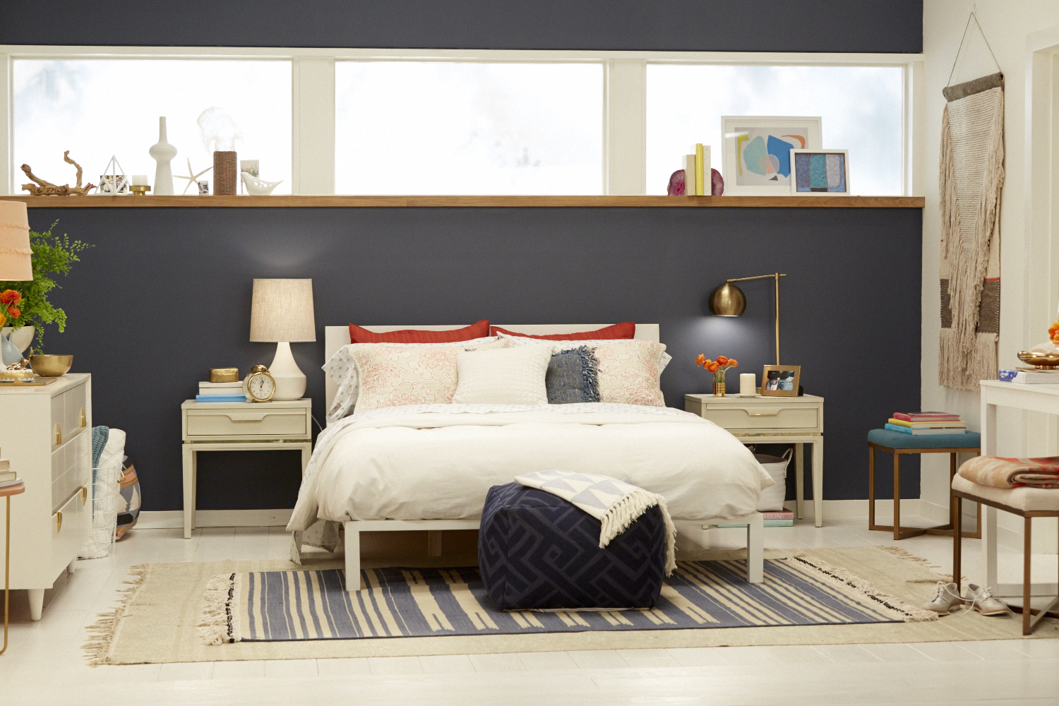 Target Accent Wall_Emily Henderson_Bedroom_Blue_Bedding_Midcentury Modern 3