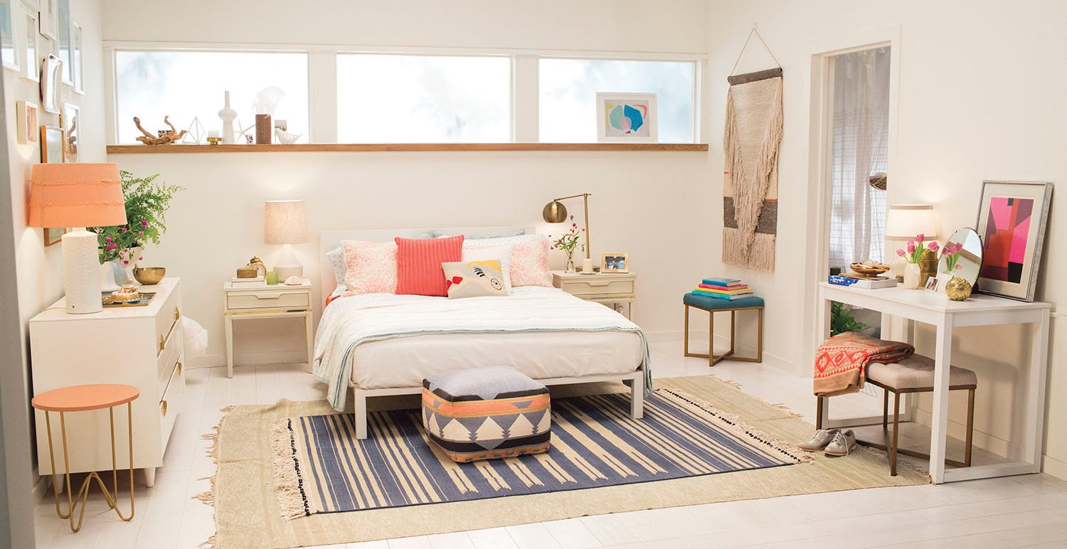 Target Emily Henderson_bedroom_white blue orange casual calm bedroom