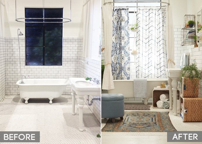 Target_Emily Henderson_Bathroom_Blue White Green Eclectic Bohemian_before and after