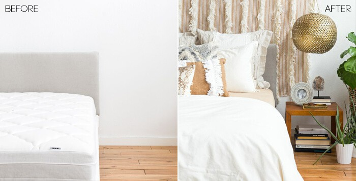 1 Bed 4 Ways_Desert Casual Glam_Neutral_Linen_Gold_Before After