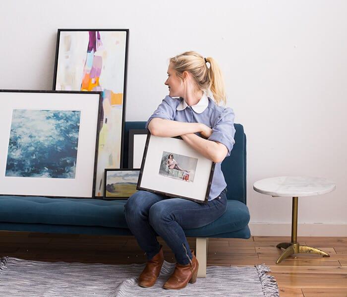 Living Room_Gallery Wall_Blue_Green_Dark_Emily Henderson_Etsy_Framebridge_Midcentury Modern_Blue Sofa_emily with art