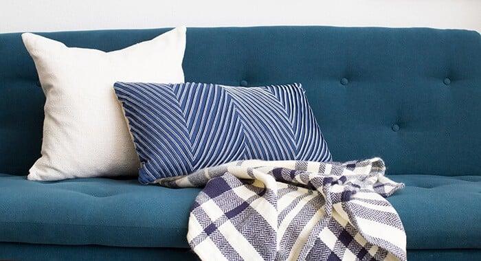 Living Room_Gallery Wall_Blue_Green_Dark_Emily Henderson_Etsy_Framebridge_Midcentury Modern_Blue Sofa_sofa with pillows