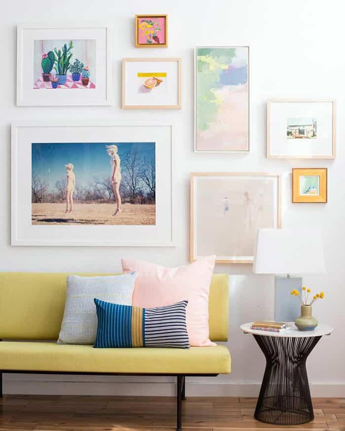 Living Room_Gallery Wall_White Clean_Pink_Green_Emily Henderson_Etsy_Framebridge_Midcentury Modern