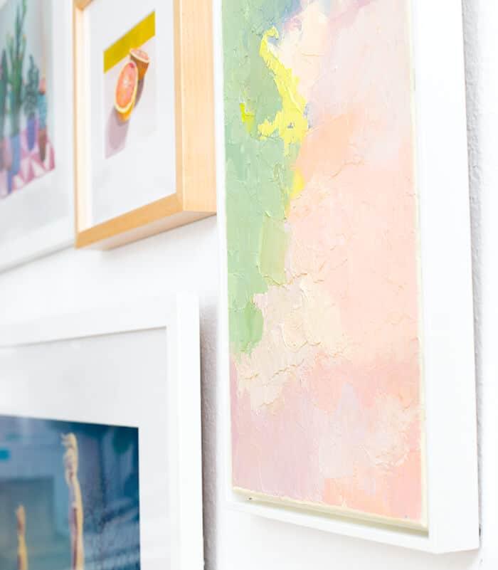 Living Room_Gallery Wall_White Clean_Pink_Green_Emily Henderson_Etsy_Framebridge_Midcentury Modern_frames