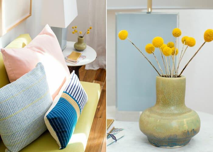 Living Room_Gallery Wall_White Clean_Pink_Green_Emily Henderson_Etsy_Framebridge_Midcentury Modern_pillows_side table