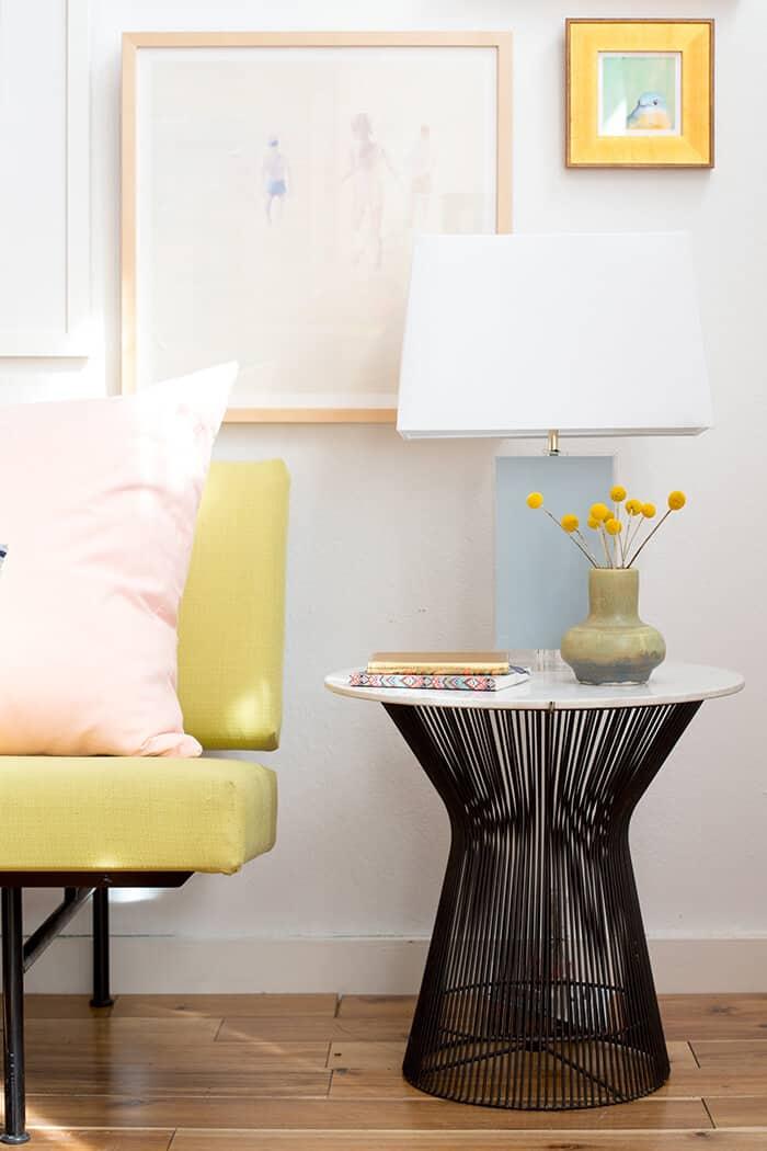 Living Room_Gallery Wall_White Clean_Pink_Green_Emily Henderson_Etsy_Framebridge_Midcentury Modern_side table