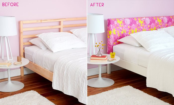 Redbook_Upholstered Headboard_Ikea Hack_Emily Henderson_Floral_Pink_before and after