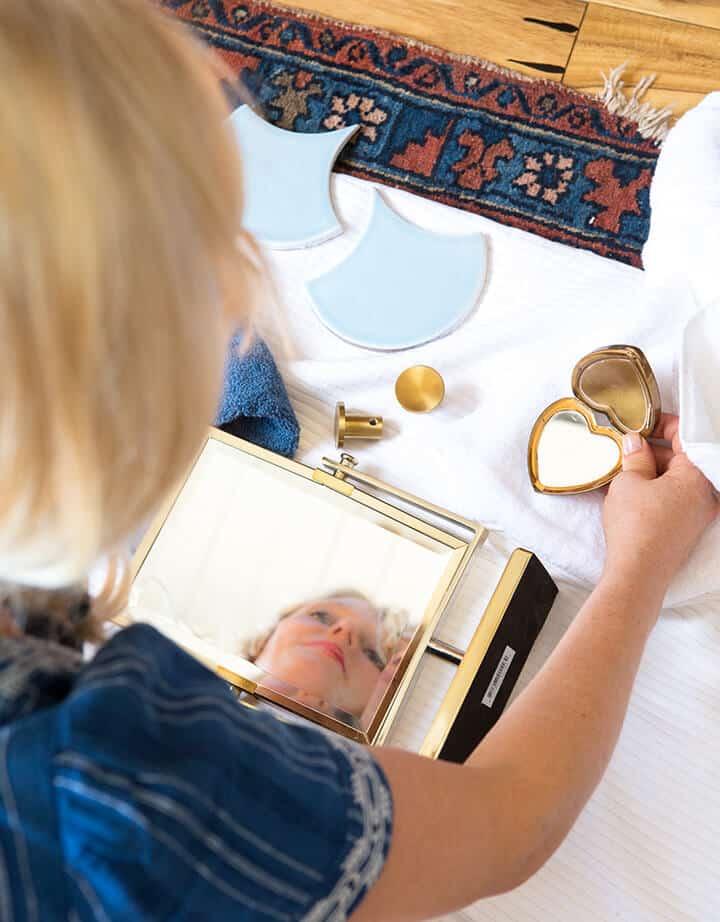 Emily Henderson_Master Bathroom_Blue White Modern Gold Bathroom