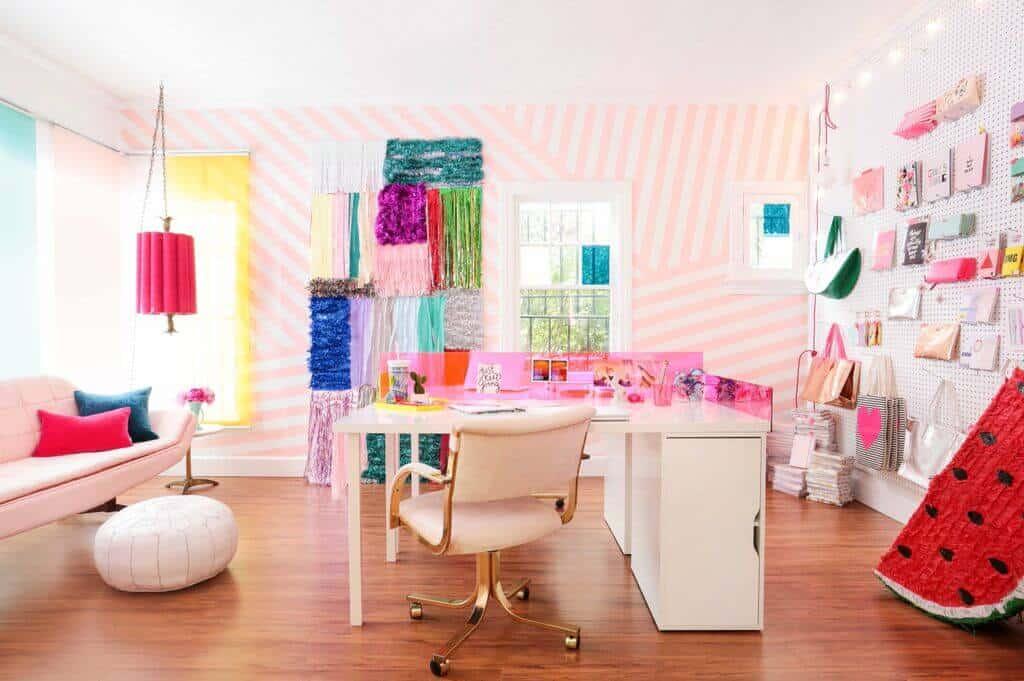 pink-diagonal-striped-wall