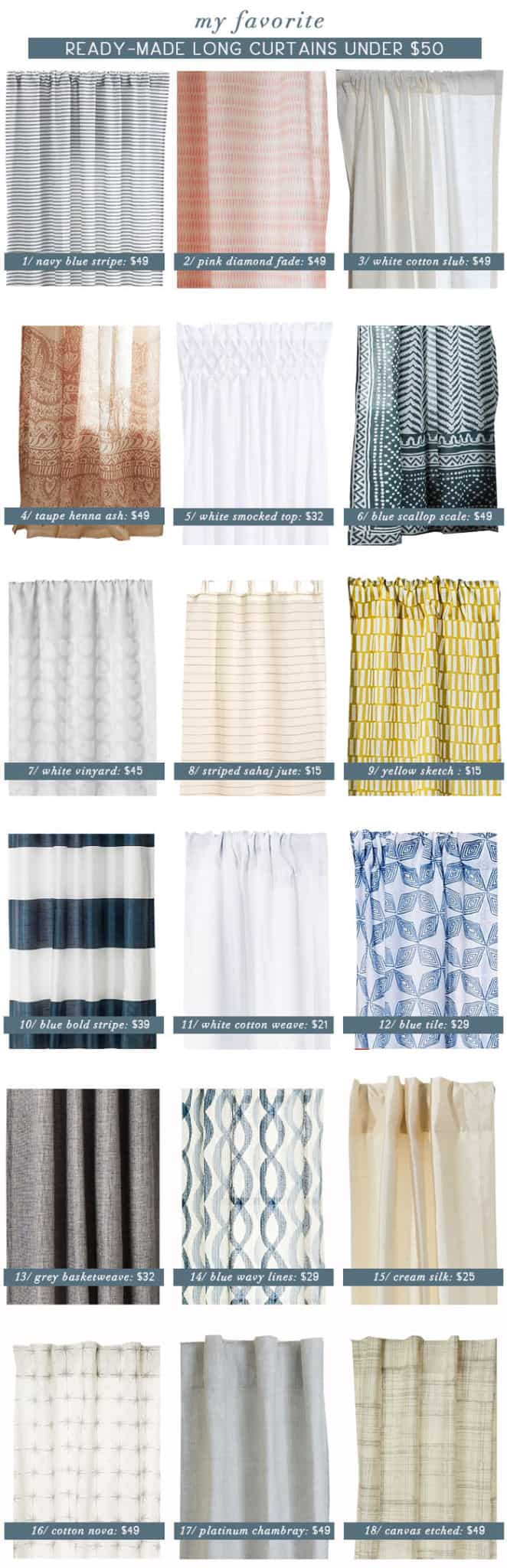 Emily Henderson_Best Curtain Panels Under 50_Roundup