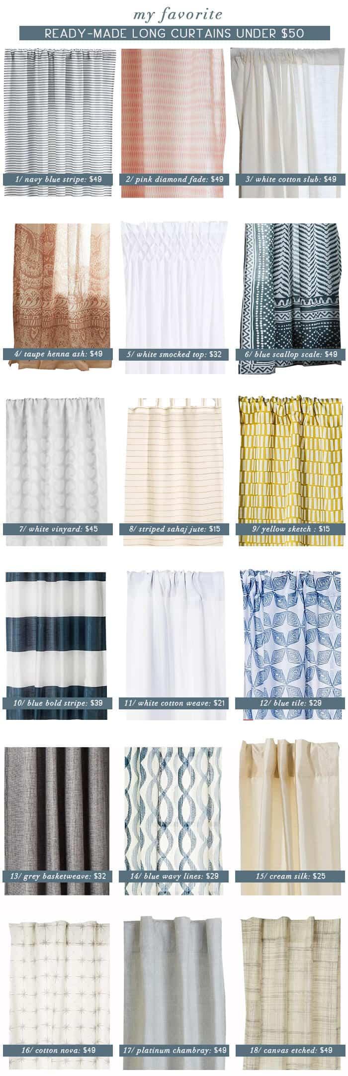Emily Henderson_Best Curtain Panels Under 50_Roundup