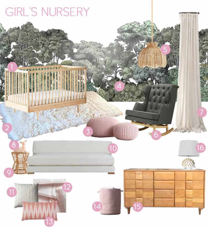 Emily House_Girls Nursery_Moodboard_green and pink_with copy