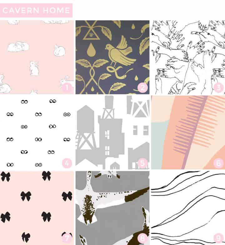 hops in rosie 2 birds of paradigm in cario 3 vernon in charcoal 4 i see you in white 5 water towers in shadow 6 navajo in pastel 7 charming wallpaper office 2 modern