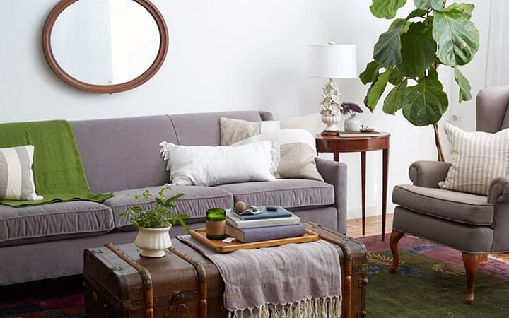 1 Sofa 4 Ways_Redbook_DIY_Styled Book_Emily Henderson_Green_Purple_Eclectic_Traditional