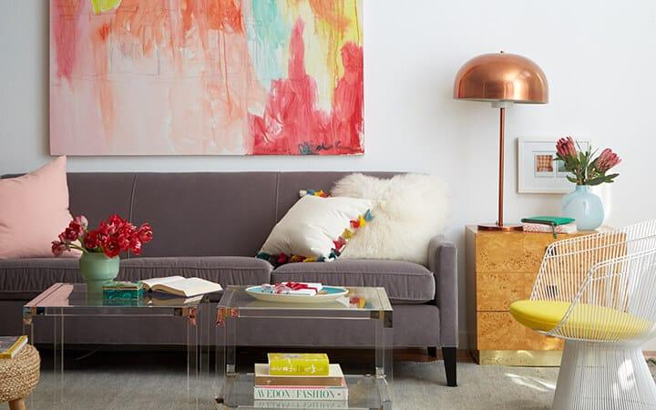 1 Sofa 4 Ways_Redbook_DIY_Styled Book_Emily Henderson_Pink_White_Yellow_Midcentury_Boho_Bohemian