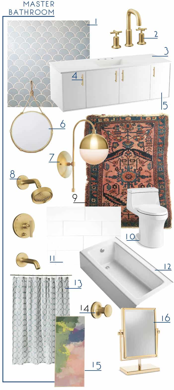 Emily Henderson_Master Bathroom_Blue White Modern Gold Bathroom_moodbaord