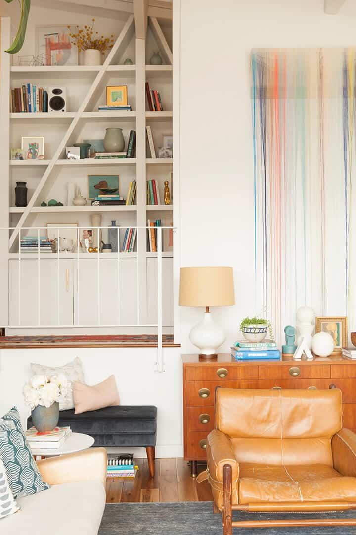 Emily_Henderson_A_Frame_Shelf_Leather_Club_Chair