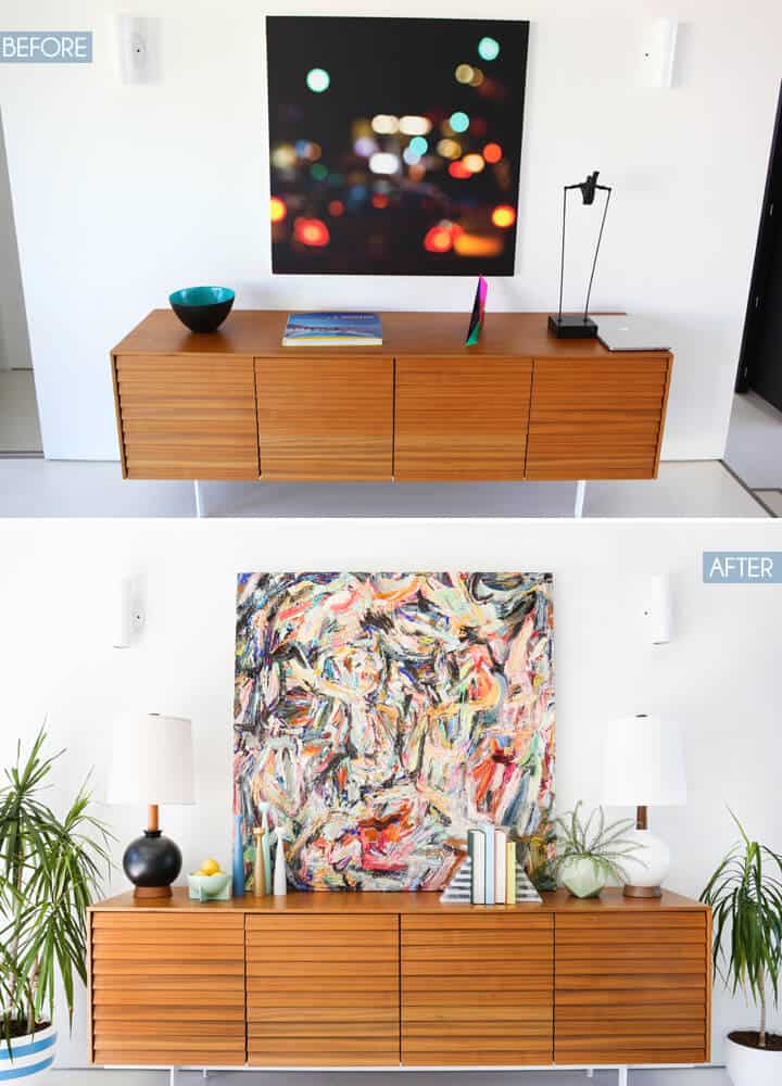Modern_Credenza_Styling_Before_And_After