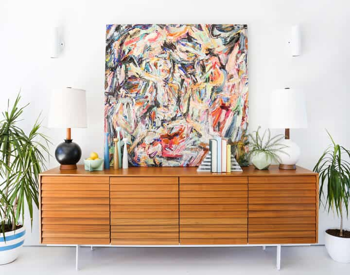Modern_Wood_Credenza_Styling_Abstract_Art