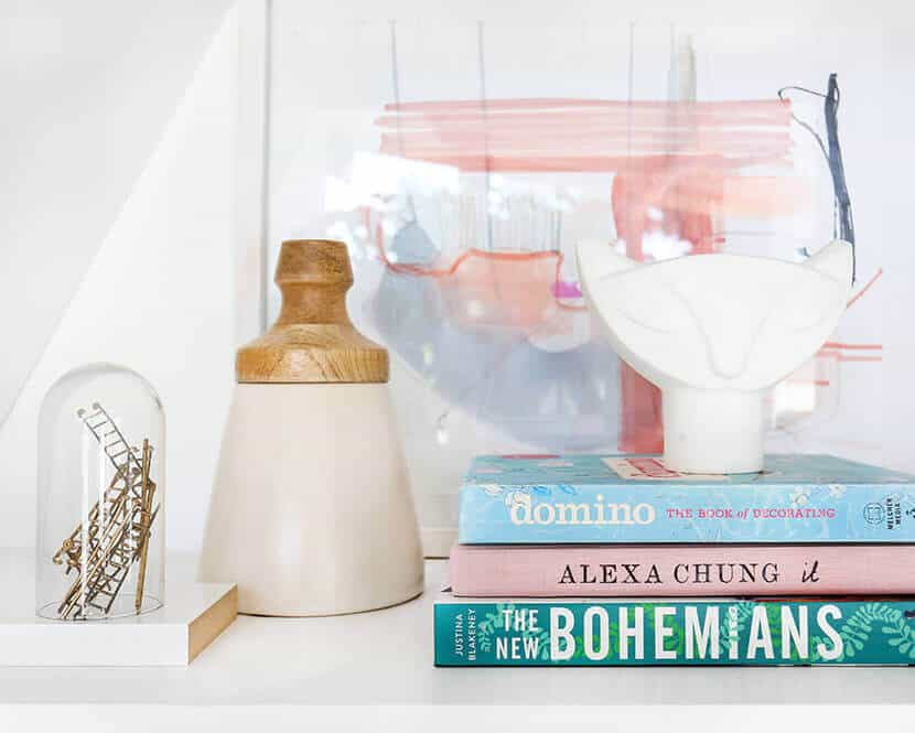 Emily Henderson Pink Shelf Styling