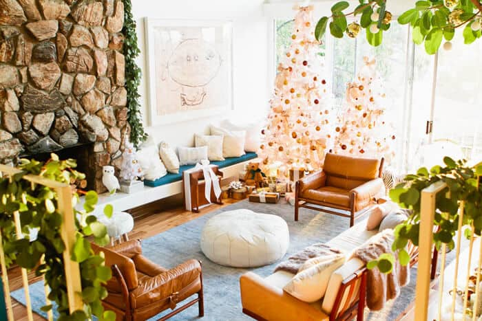 Emily Henderson Holiday Decorating Copper Gold Blue Christmas Tree White living room