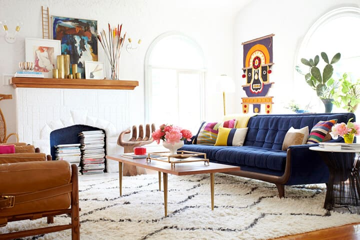 My Biggest Design Regrets_Emily Henderson Living Room_Couch_Blue Couch_Sofa