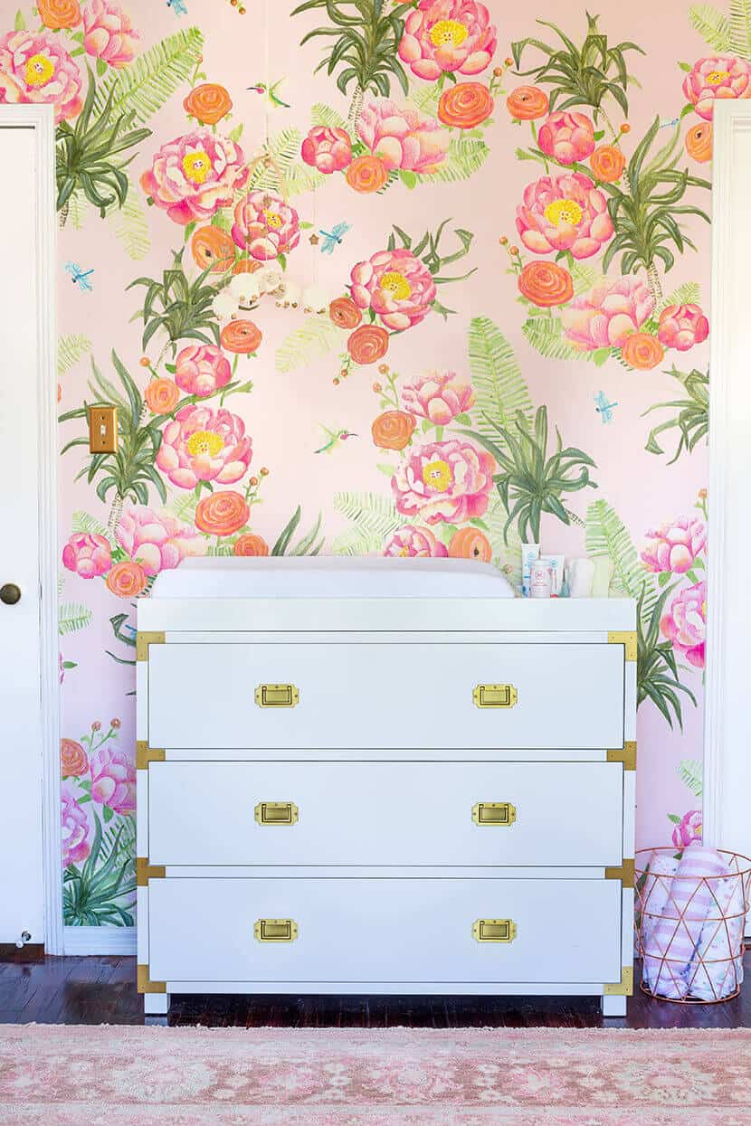 Emily Henderson Girls Nursery Changing Table