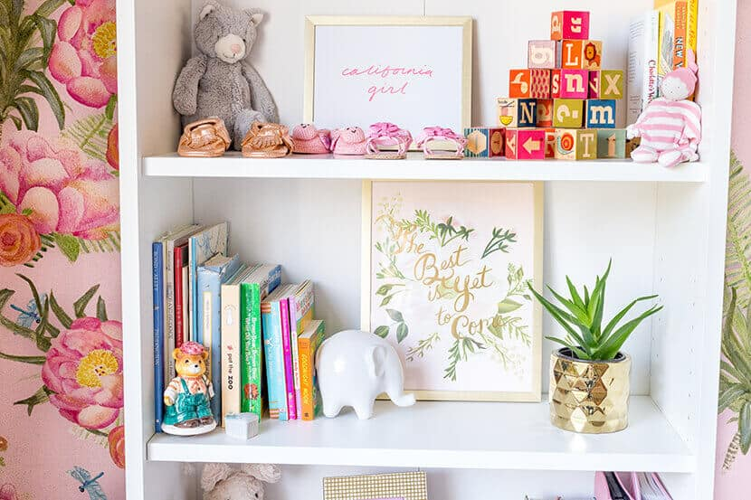 Emily Henderson Nursery Shelf Styling