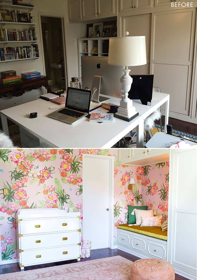 Emily Henderson Sugarman Girls Nursery Before After