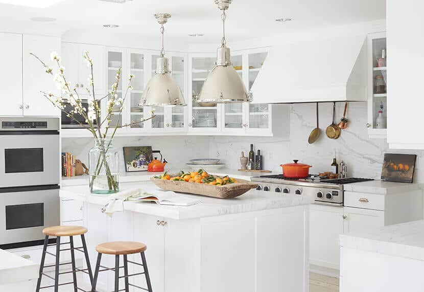 Introducing Color To Modern White Kitchen Emily Henderson