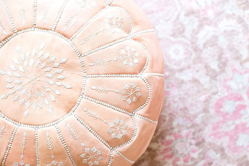 Pink Leather Pouf For Girls Room
