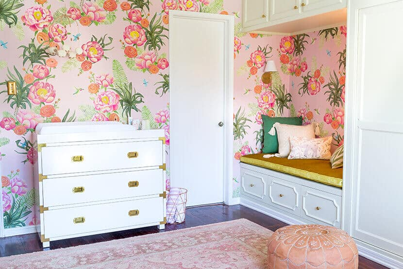 Pretty Floral Pink Gold Girls Nursery