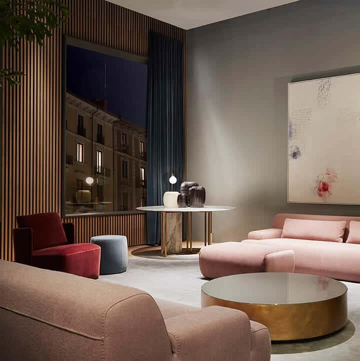 brass coffee table_minimal_modern_pink_living room design trends_matt brass_MATT METAL