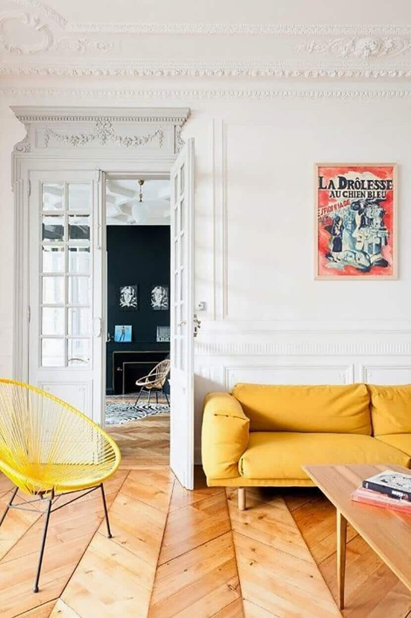 buttercup yellow sofa and chair