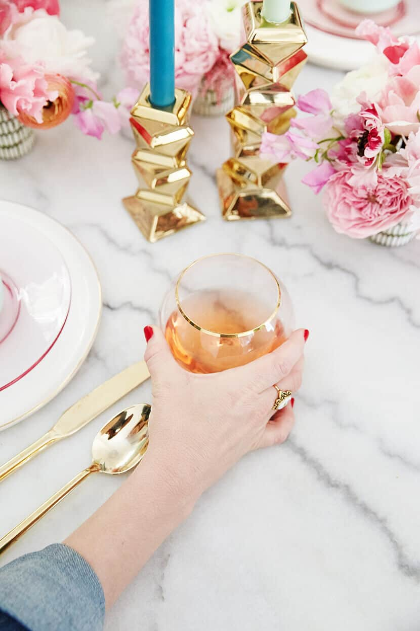 Cooking Light Pink Gilded Glasses Tablescape