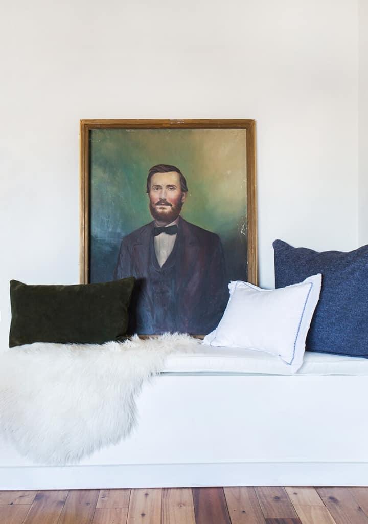 Dapper Portrait Oil Painting Vintage Built In Bench