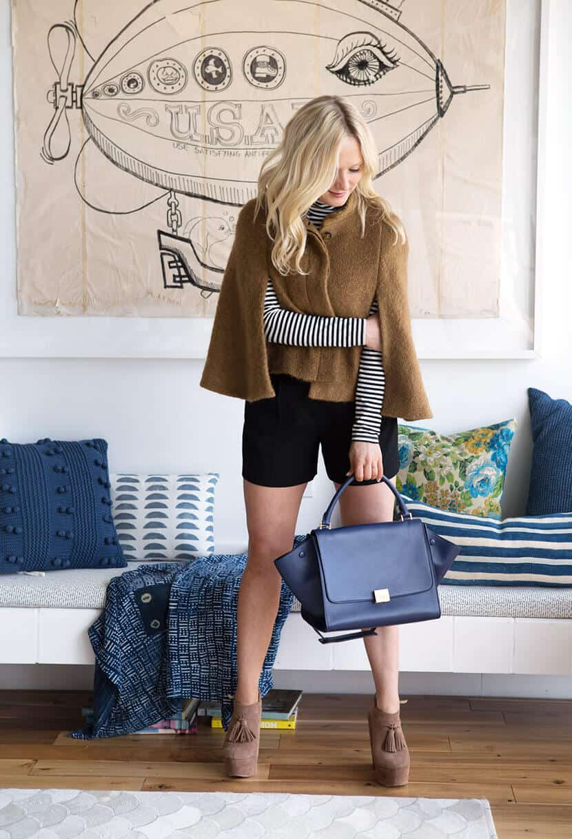 Emily Henderson Blue Leather Purse