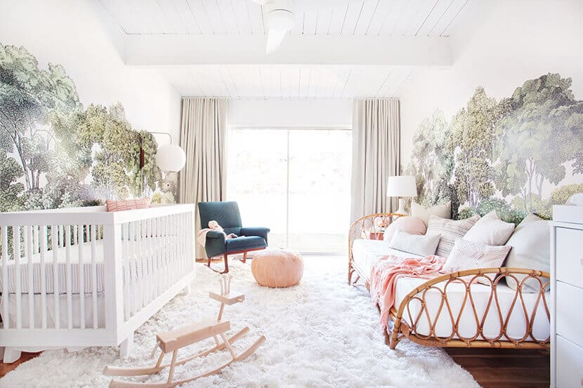 Emily Henderson Blush Pink Forest Green Nursery