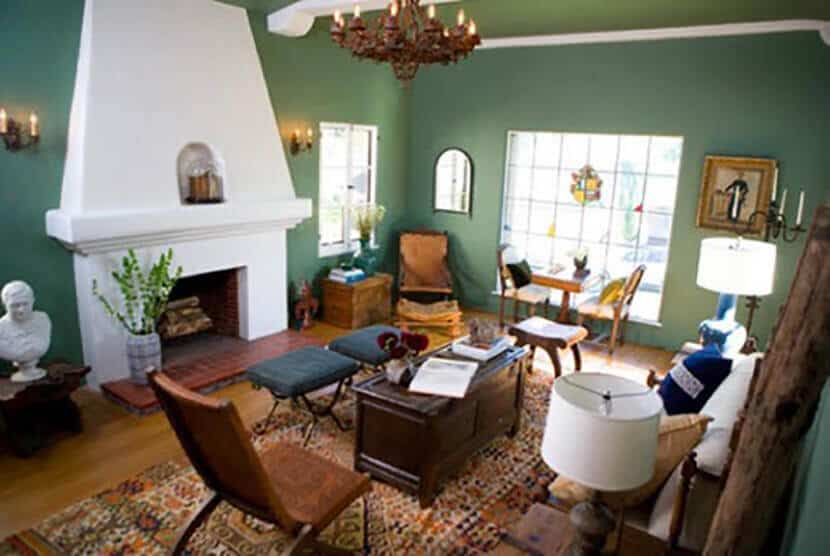 Emily Henderson Green Traditional Living Room