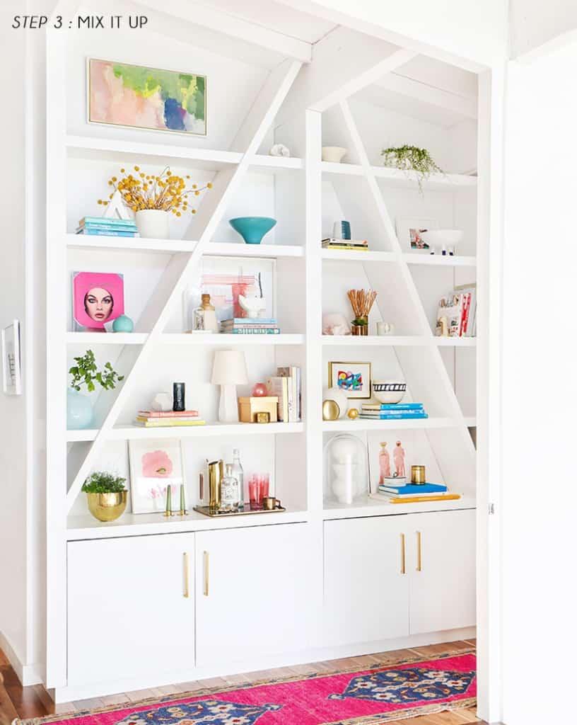 Emily Henderson Pink Shelf Styling Step 3