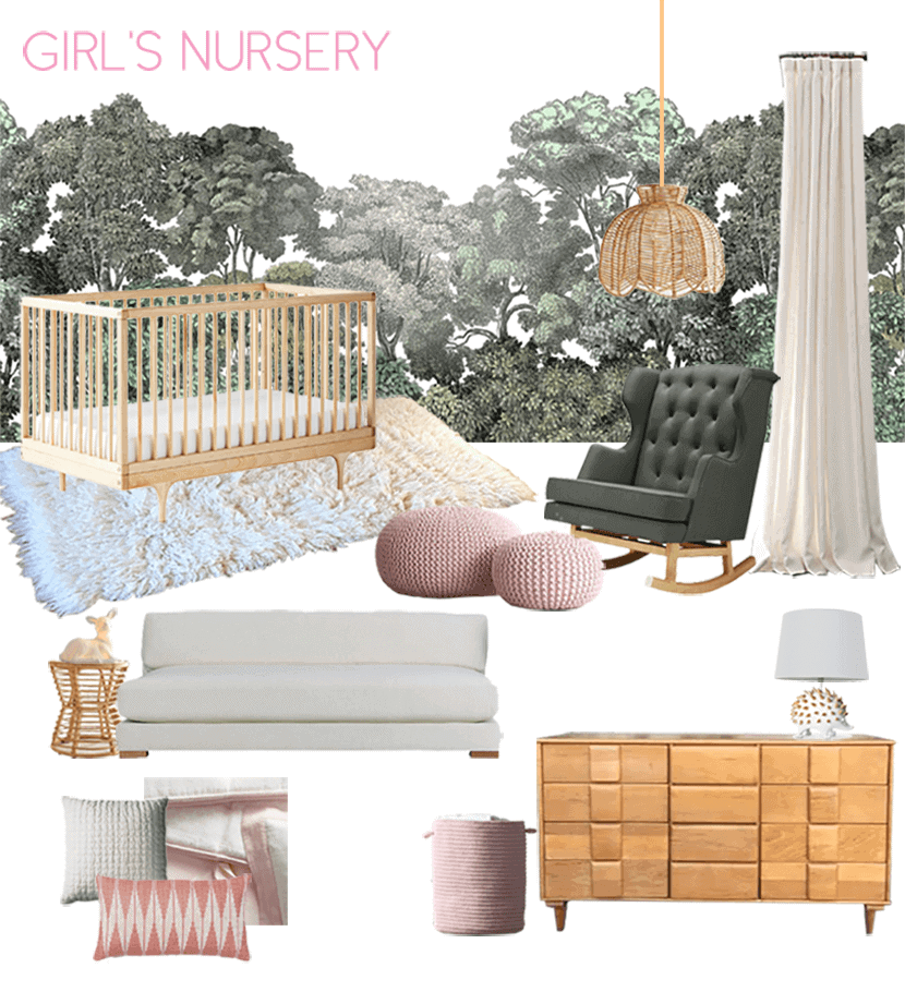 Emily House Girls Nursery Moodboard Green Pink