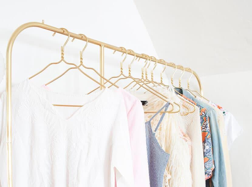 Gold Garment Rack Brass Hangers