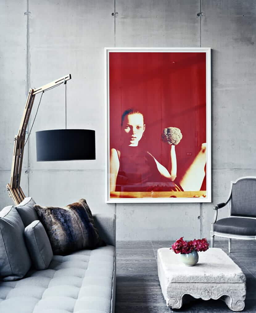 Gray Living Room Red Artwork