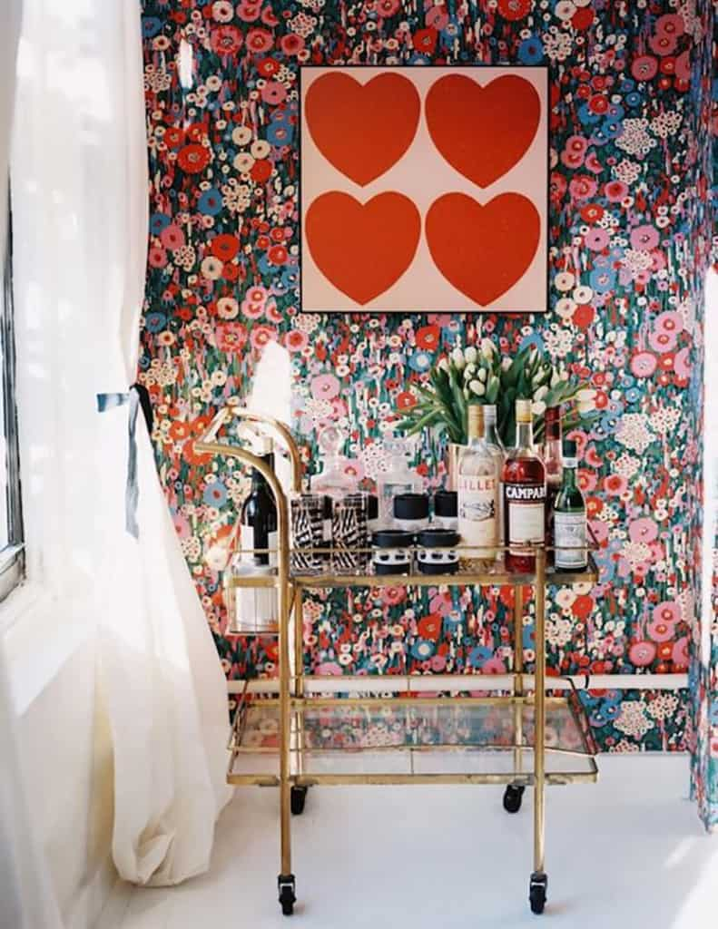 Hearts art gold barcart red and pink floral wallpaper