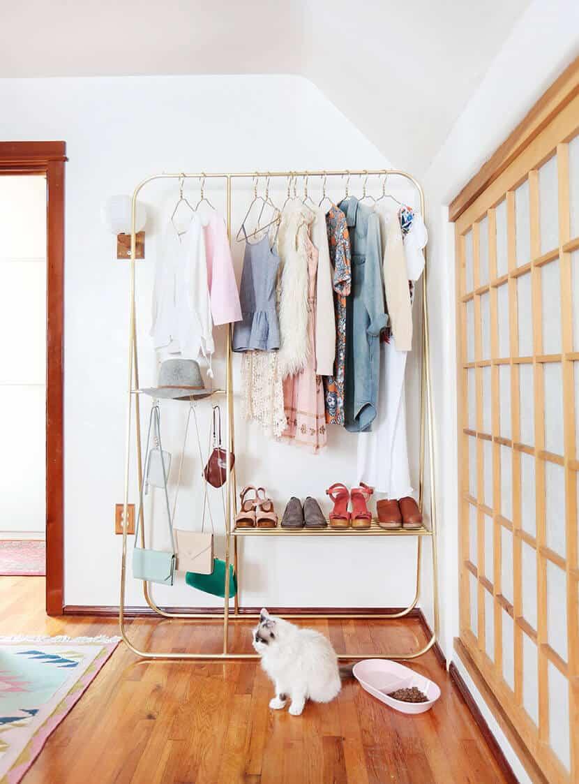 Minimal Pet Friendly Bedroom Gold Garment Rack