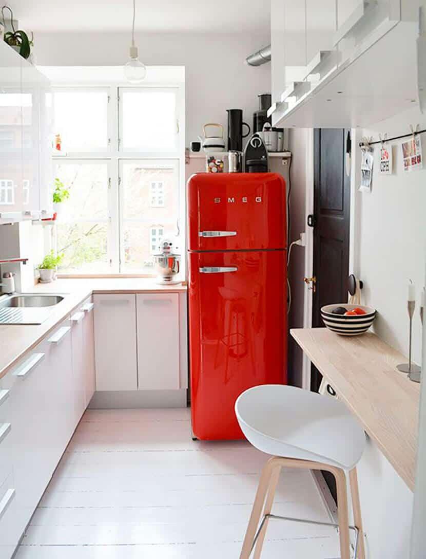Red Smeg White Minimal Kitchen