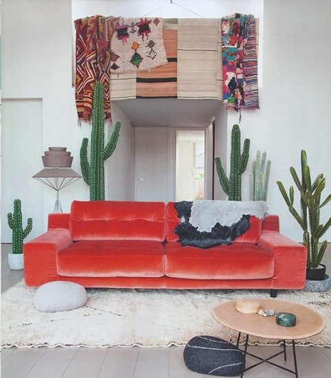 Red Velvet Accent Couch
